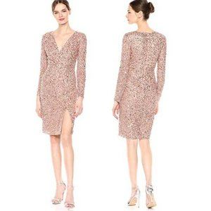 Adrianna Papell Beaded Wrap Dress in Rose Gold 6